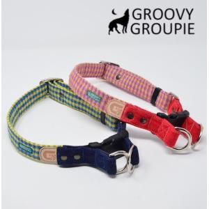 犬用 首輪 大型犬用  Lサイズ アクリルミックス ギンガムチェック、デニム&レザー ダブルDカン|groovygroupie