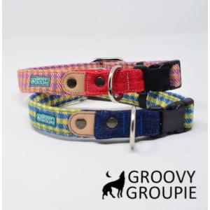 首輪 中型犬用 Mサイズ  アクリルミックス ギンガムチェック & デニム +レザー|groovygroupie