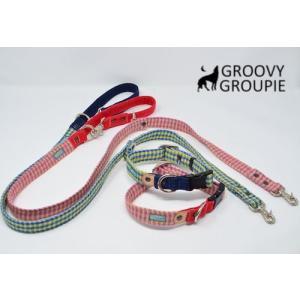 中型犬用 首輪とリードセット アクリルミックスギンガムチェック  & デニム +レザー セットでお得|groovygroupie