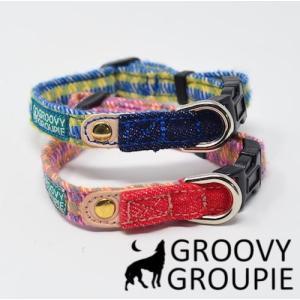 超小型犬用 首輪  アクリルミックス ギンガムチェック柄とデニム|groovygroupie