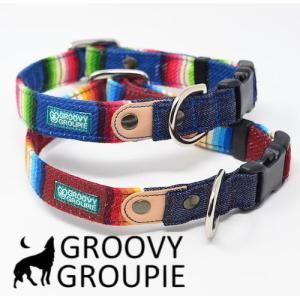 首輪 中型犬用 Mサイズ  レインボーマルチストライプ & デニム +レザー|groovygroupie