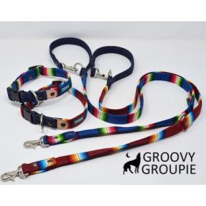 小型犬用 首輪とリードセット   レインんボーマルチストライプ & デニム セットでお得  groovygroupie