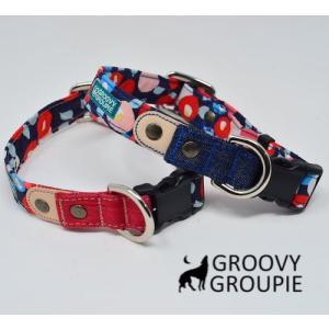 首輪 中型犬用 Mサイズ  和柄牡丹柄 & デニム +レザー|groovygroupie