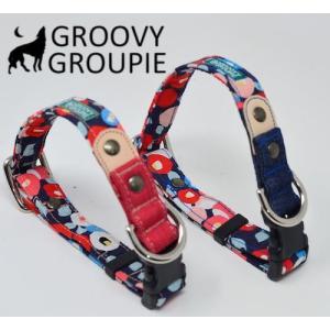 小型犬用【Sサイズ】首輪 和柄牡丹プリント&デニム&レザー|groovygroupie