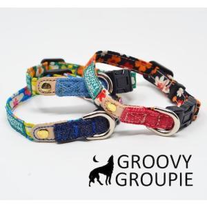 超小型犬用 首輪  レトロ風花柄&デニム|groovygroupie