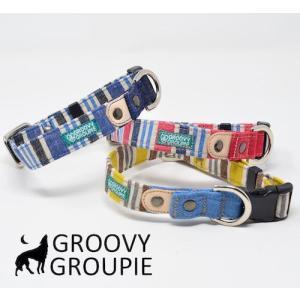 首輪 中型犬用 Mサイズ  ビンテージ風ストライプ柄 & デニム +レザー|groovygroupie