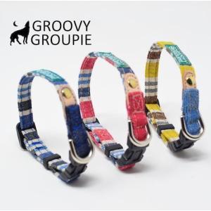 超小型犬用 首輪  ビンテージ風ストライプ&デニム|groovygroupie