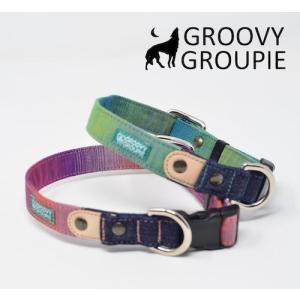 首輪 中型犬用 Mサイズ グラデーション & デニム +レザー|groovygroupie