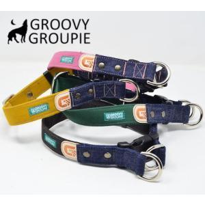 大型犬用【Lサイズ】首輪 ツイル&デニム レザー ダブルDカン|groovygroupie