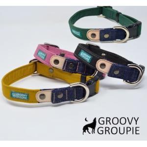 首輪 中型犬用 Mサイズ  ツイル & デニム +レザー|groovygroupie