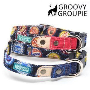 中型犬用【Mサイズ】首輪 ボトルキャップ柄とデニム&レザー|groovygroupie