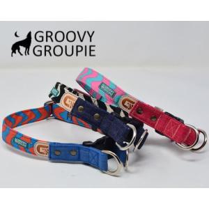 大型犬用【Lサイズ】首輪 ロリポップウェーブ&デニム レザー ダブルDカン|groovygroupie