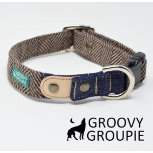 首輪 中型犬用 Mサイズ  ヘリンボーン&デニム+レザー ベージュブラウン アクリルウール|groovygroupie