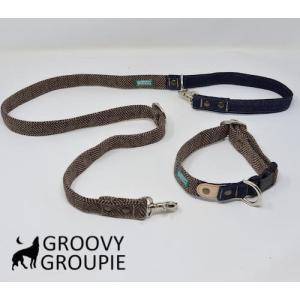 中型犬用 首輪とリードセット ヘリンボーン&デニム+レザー セットでお得【Mサイズ】ベージュブラウン アクリルウール|groovygroupie