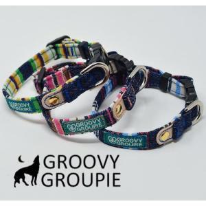 超小型犬用 首輪 マルチストライプ&デニム、レザー【SSサイズ】 groovygroupie