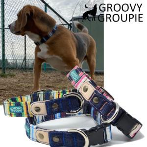 中型犬用【Mサイズ】首輪 マルチストライプとインディゴデニム&レザー groovygroupie