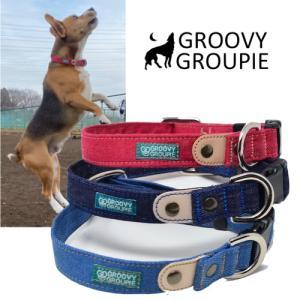 中型犬用【Mサイズ】首輪 デニム3色&レザー groovygroupie