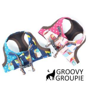 中型犬用 ベスト型ソフトハーネス フクロウ&水玉 犬 胴輪 ボディハーネス 日本製|groovygroupie