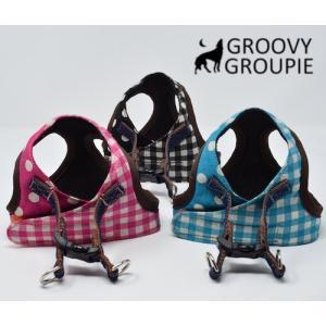 中型犬用 ベスト型ソフトハーネス ギンガムチェック 犬 胴輪 ボディハーネス 日本製|groovygroupie