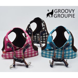 大きめ小型犬用 ハーネス ギンガムチェック&水玉ドット柄 ソフトハーネス ベスト型   犬 胴輪 ボディハーネス 日本製|groovygroupie