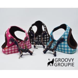 小型犬用 ハーネス  ソフト ベスト型  ギンガムチェック&水玉ドット柄  犬 胴輪 ボディハーネス 日本製 |groovygroupie
