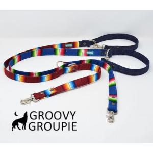 レインボーマルチストライプ & デニム!3way 長さ調節可能カフェリード 【小型犬.中型犬】|groovygroupie