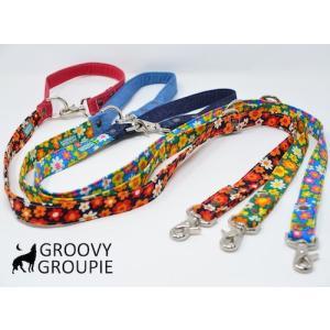 レトロ風花柄 & デニム!3way 長さ調節可能カフェリード 【小型犬.中型犬】|groovygroupie