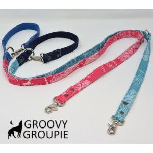 プラント& デニム!3way 長さ調節可能カフェリード 【小型犬.中型犬】|groovygroupie