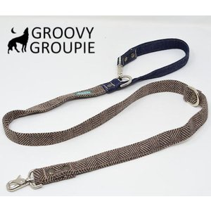ヘリンボーン&デニム!3way 長さ調節可能カフェリード 【小型犬.中型犬】アクリルウール ベージュブラウン|groovygroupie