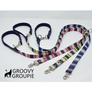 マルチストライプ& インディゴデニム!3way 長さ調節可能カフェリード 【小型犬.中型犬】|groovygroupie