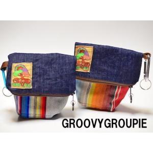 小型犬、中型犬用エチケットポーチ マナーポーチ マルチストライプ|groovygroupie
