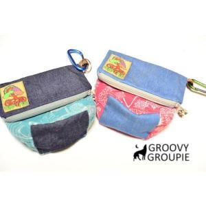 小型犬、中型犬用エチケットポーチ マナーポーチ プラントプリント&デニム|groovygroupie