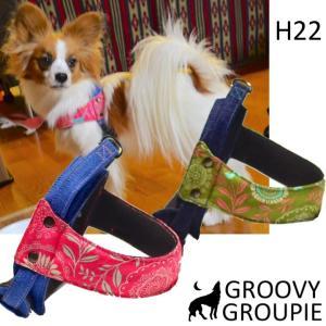 犬用ハーネス クイックハーネス・胴輪 小型犬用 プラントプリント  ワンタッチで装着簡単 裏地クッションで優しい。 日本製|groovygroupie