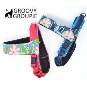 大型犬用 ハーネス  お花と葉っぱプリント クイックハーネス・胴輪 ワンタッチで装着簡単 裏地クッションで優しい  日本製 オーダーメイド|groovygroupie