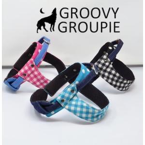 中型犬用ハーネス ギンガムチェックと水玉ドット柄 クイックハーネス・胴輪 ワンタッチで装着簡単 裏地クッションで優しい。 日本製|groovygroupie