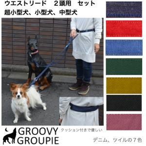ウエストベルトリード ランニングリード  小型犬・中型犬用リード 2頭用セット 【ポスト投函選択で送料無料】|groovygroupie