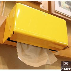 DULTON ダルトン 新仕様 ティッシュディスペンサー ペーパーボックス ティッシュケース 壁掛け 据置き可能 スチール製 イエロー|gs-cart