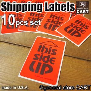 梱包 取扱注意シール ラベル この面を上に THIS SIDE UP オレンジ Shipping Label 10枚セット アメリカオフィス店舗|gs-cart