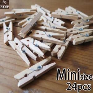 ウッドクリップ ミニサイズ 24個セット ナチュラル色 長さ3cm ディスプレイフック 木製洗濯ばさみ クロスピン|gs-cart