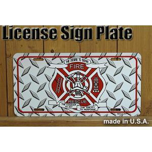 米国消防士FIREFIGHTERのライセンスプレート(MADE IN U.S.A.)。  アルミ縞板...