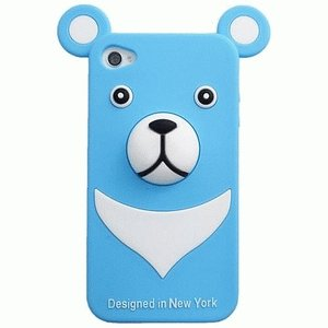 【残りわずか】iPhone 4S/iPhone 4 共通 セール30%/Silicon/Bear/Blue|gs-net