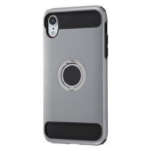 iPhone XR 耐衝撃ケース/リング付360/シルバー|gs-net