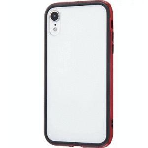 iPhone XR ハイブリッドバンパー/背面パネル/クリア/レッド|gs-net