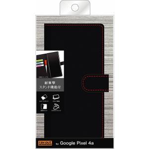 スマホケース Google Pixel 4a 手帳型ケース ソフトタイプ マグネット ブラック レッド|gs-net