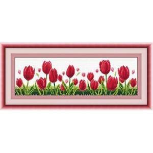 クロスステッチ刺繍キット 図柄印刷  赤チューリップ