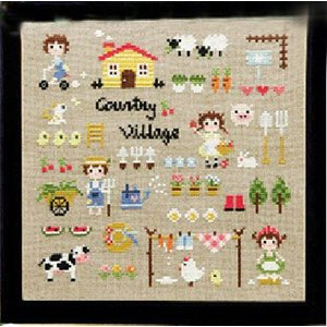 DMC糸 クロスステッチ 刺繍キット COUNTRY VILLAGE 図柄印刷