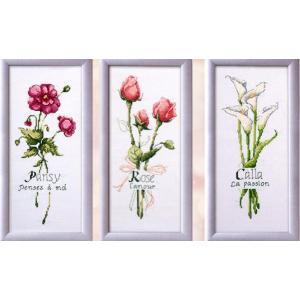 クロスステッチ 刺繍キット バレンタインデー花 3画 (DMC刺繍糸) 図柄印刷 gs-shop