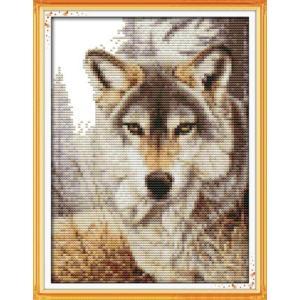 ししゅう糸 クロスステッチ刺繍キット 布地に図柄印刷 ウルフ gs-shop