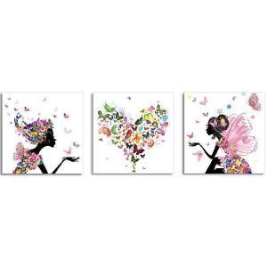 クロスステッチ 刺繍キット 3画 蝶々愛少女 (DMC刺繍糸) 図柄印刷|gs-shop