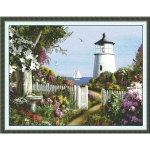 クロスステッチ刺繍キット 布地に図柄印刷 花園白灯台|gs-shop